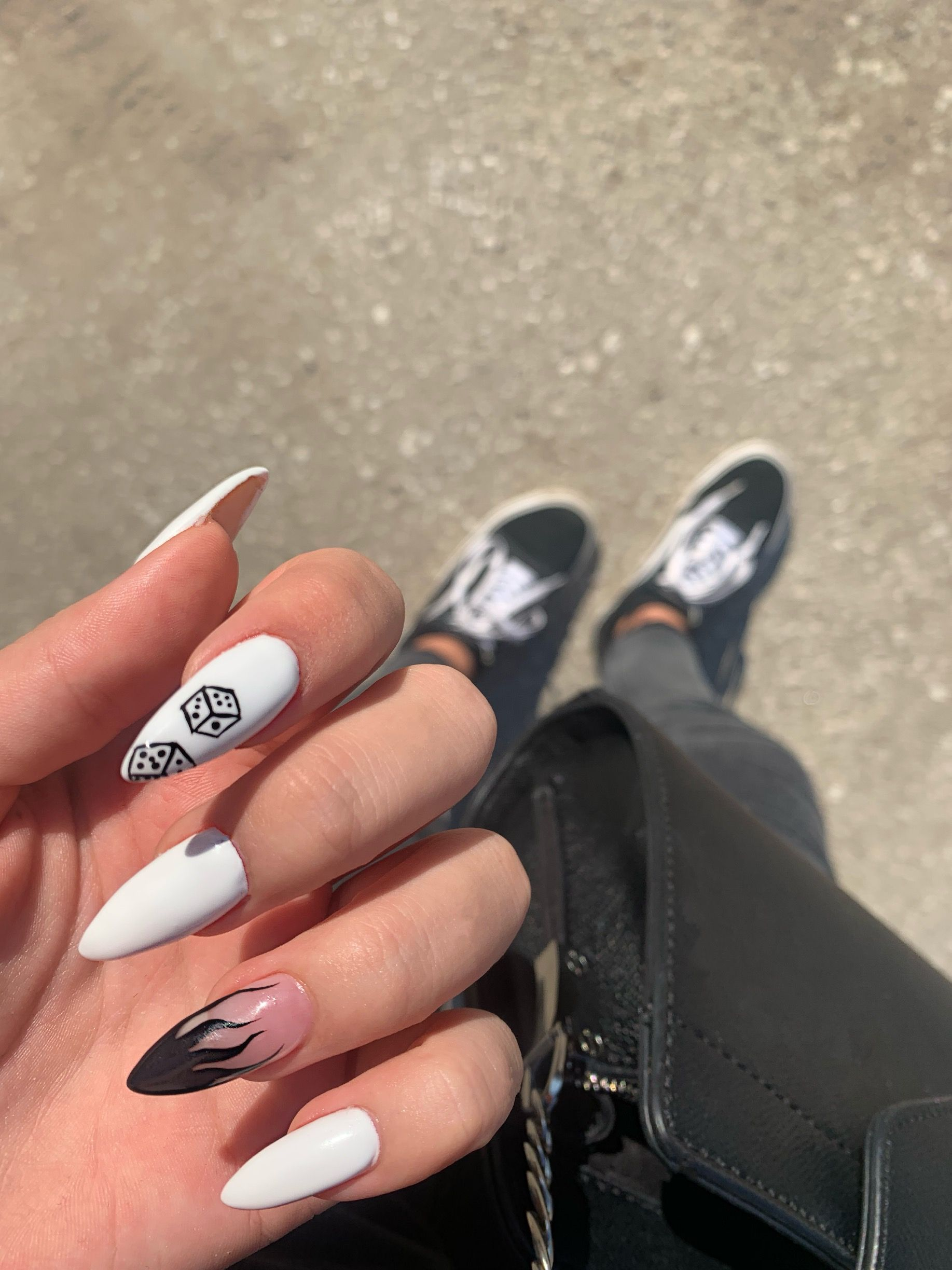 Black And White Nails Grunge Nails Edgy Nails Pretty Acrylic Nails