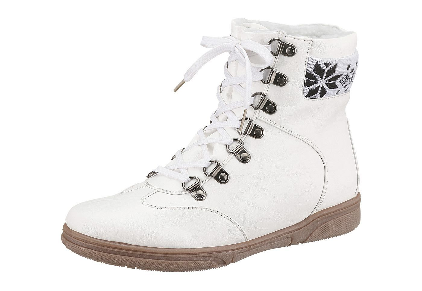 Boots, CITY WALK, Lederimitat, Futter: Warmfutter, Decksohle aus Warmfutter, Synthetik-Laufsohle, Schuhweite: Weite F (normal), Schnürung....