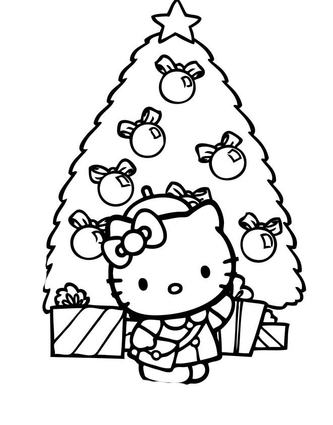 Hello Kitty Buy Christmas Tree Coloring Pages