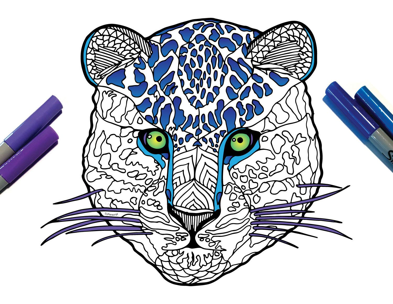 Amur leopard endangered animal pdf zentangle coloring page