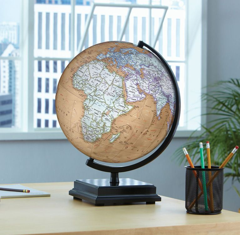 Replogle discovery cameron desktop world globe with black lacquer replogle discovery cameron desktop world globe with black lacquer finish wood base and gumiabroncs Choice Image