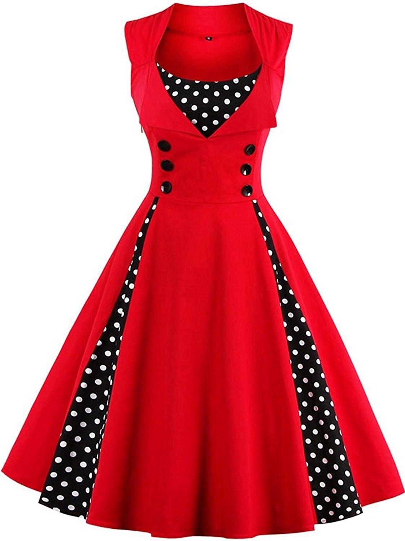 51a945b6e30 Women s 1950s Vintage Sleeveless Retro Swing Party Classy Dress - A ...