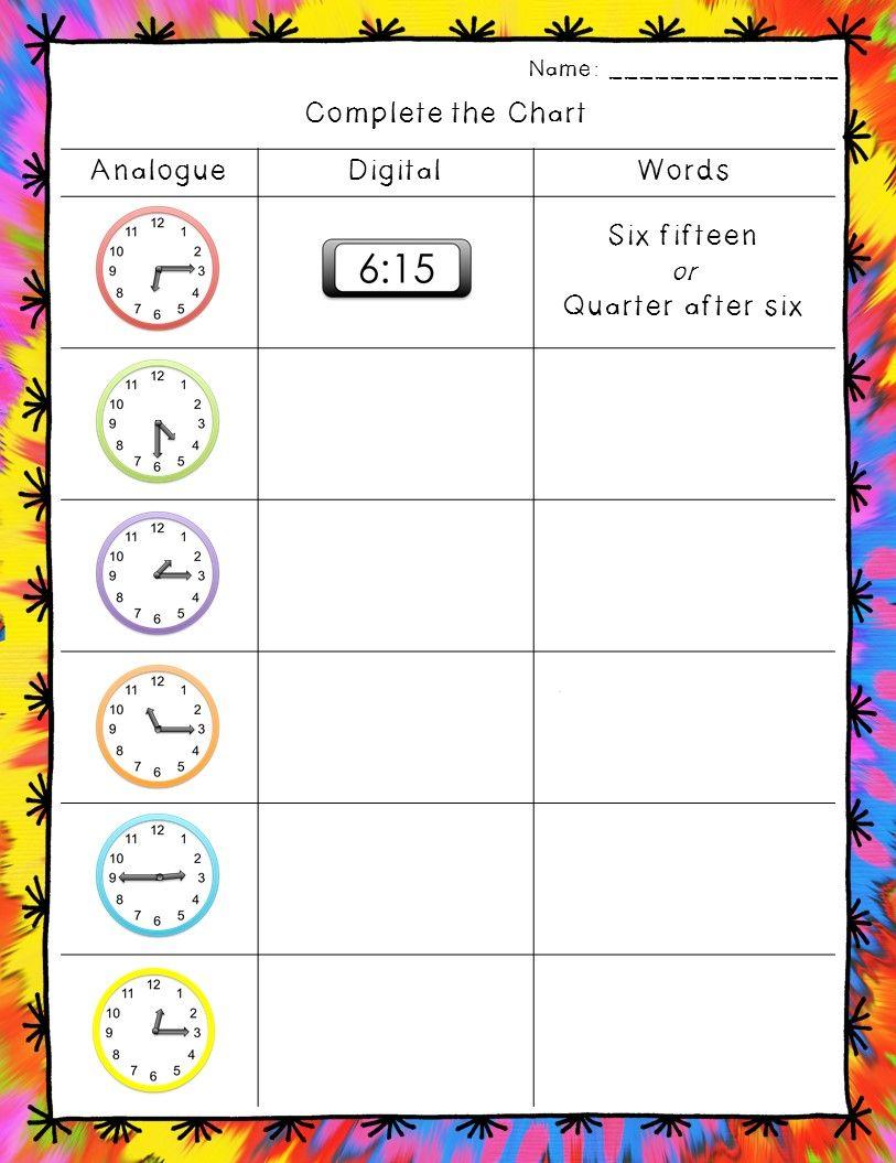 Workbooks quarter hour worksheets : Time Worksheets: Hour, Half Hour, and Quarter Hour | Telling time ...
