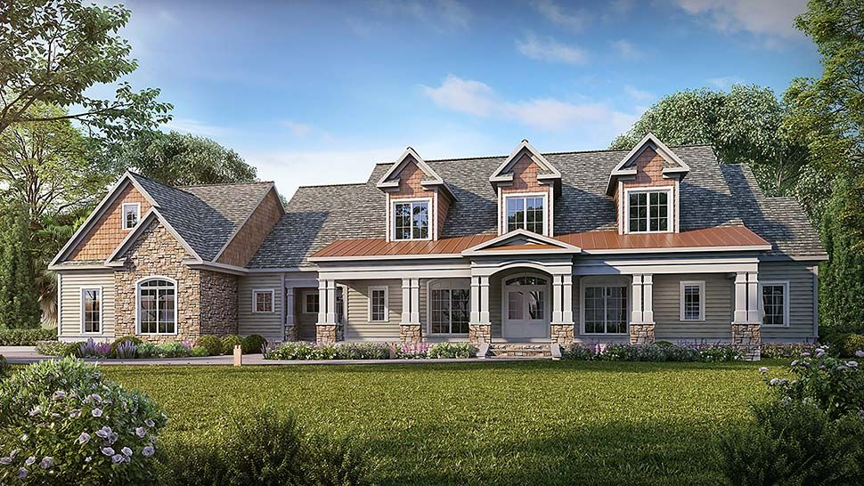 Traditional Style House Plan 60070 With 5 Bed 5 Bath 3 Car Garage House Plans Traditional House Plans Craftsman House