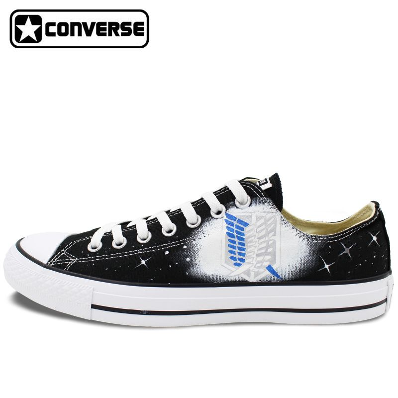 a6eb1f43 Black Converse All Star Low Top Anime Shoes Attack on Titan Design ...