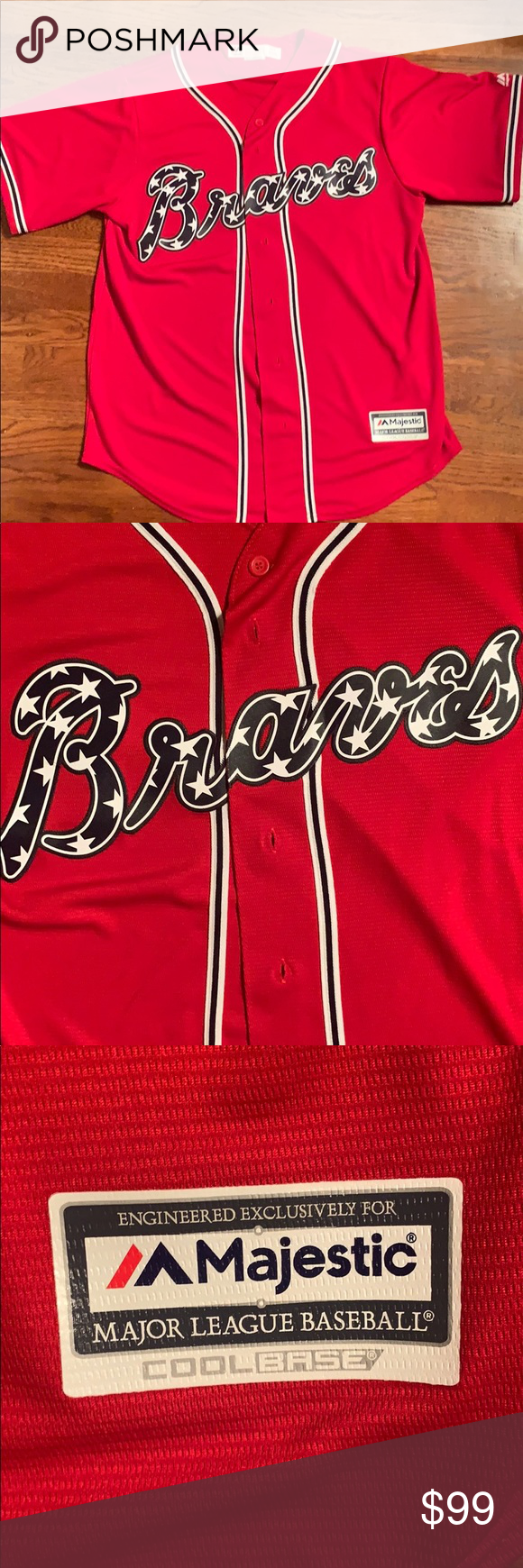 Atlanta Braves Stars And Stripes Jersey Red Jersey With Sewn Logo On Front New Majestic Other Atlanta Braves Striped Jersey Braves
