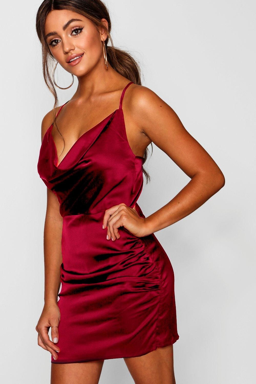 Florence Satin Cowl Neck Bodycon Dress Boohoo In 2020 Red Bodycon Dress Bodycon Dress Party Dress Long Sleeve