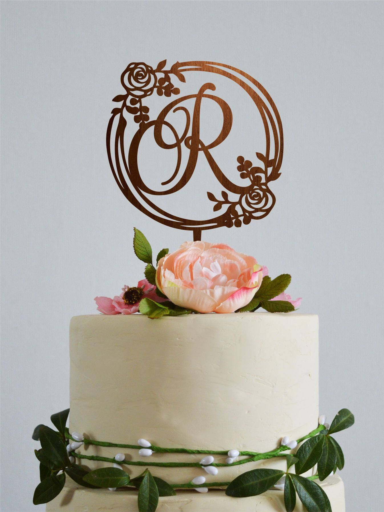 custom wording gold cake topper initials wedding cake topper Cake topper personalized
