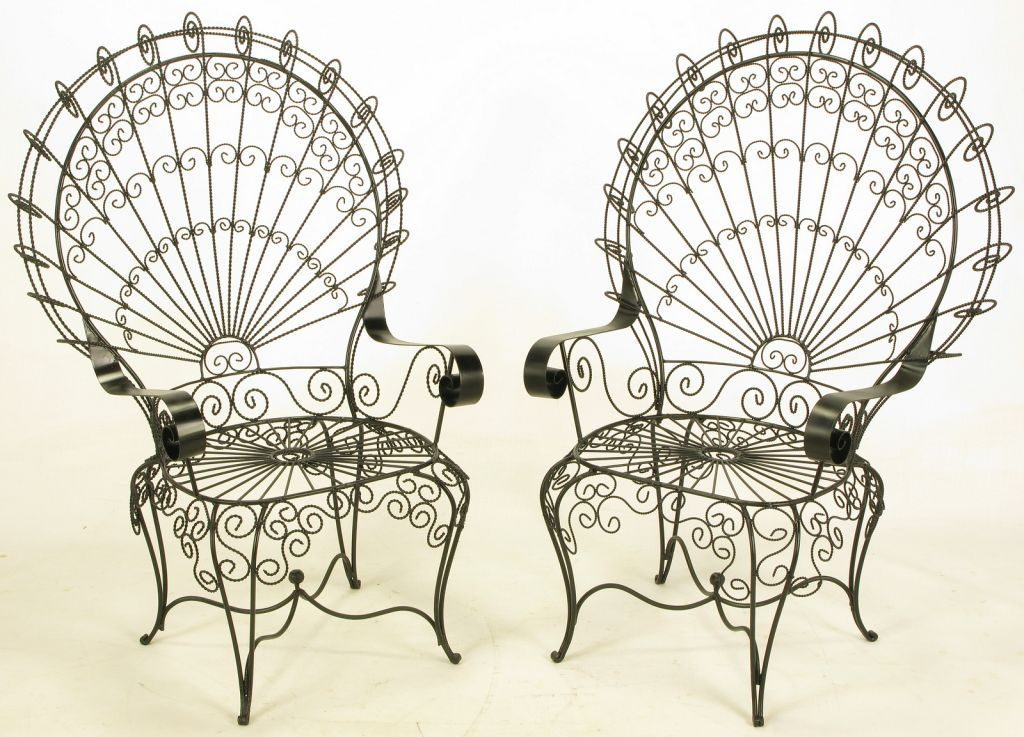 Black Satin Lacquered Iron And Wire Fan Back Garden Chairs. Scrolling Iron  Frames With Twisted