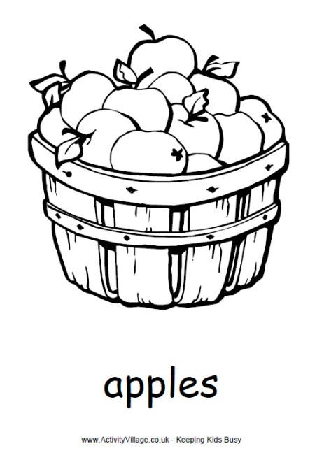 Basket Of Apples Colouring Page Fruit Coloring Pages Apple