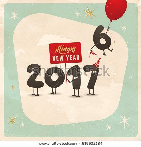 Vintage style funny greeting card - Happy New Year 2017 ...