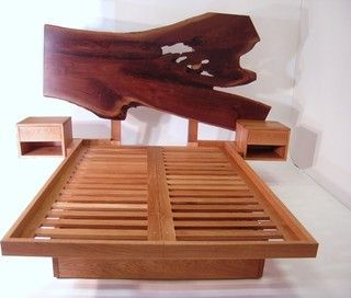 Live Edge Headboard + Platform Bed - contemporary - beds - toronto - by Akroyd Furniture