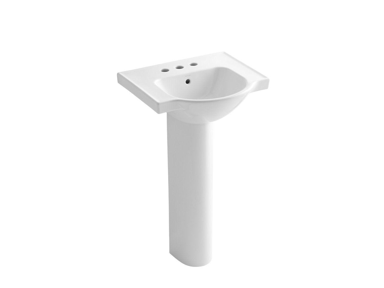 Kohler K 5265 4 0 Veer Pedestal Bathroom Sink With 4 Inch