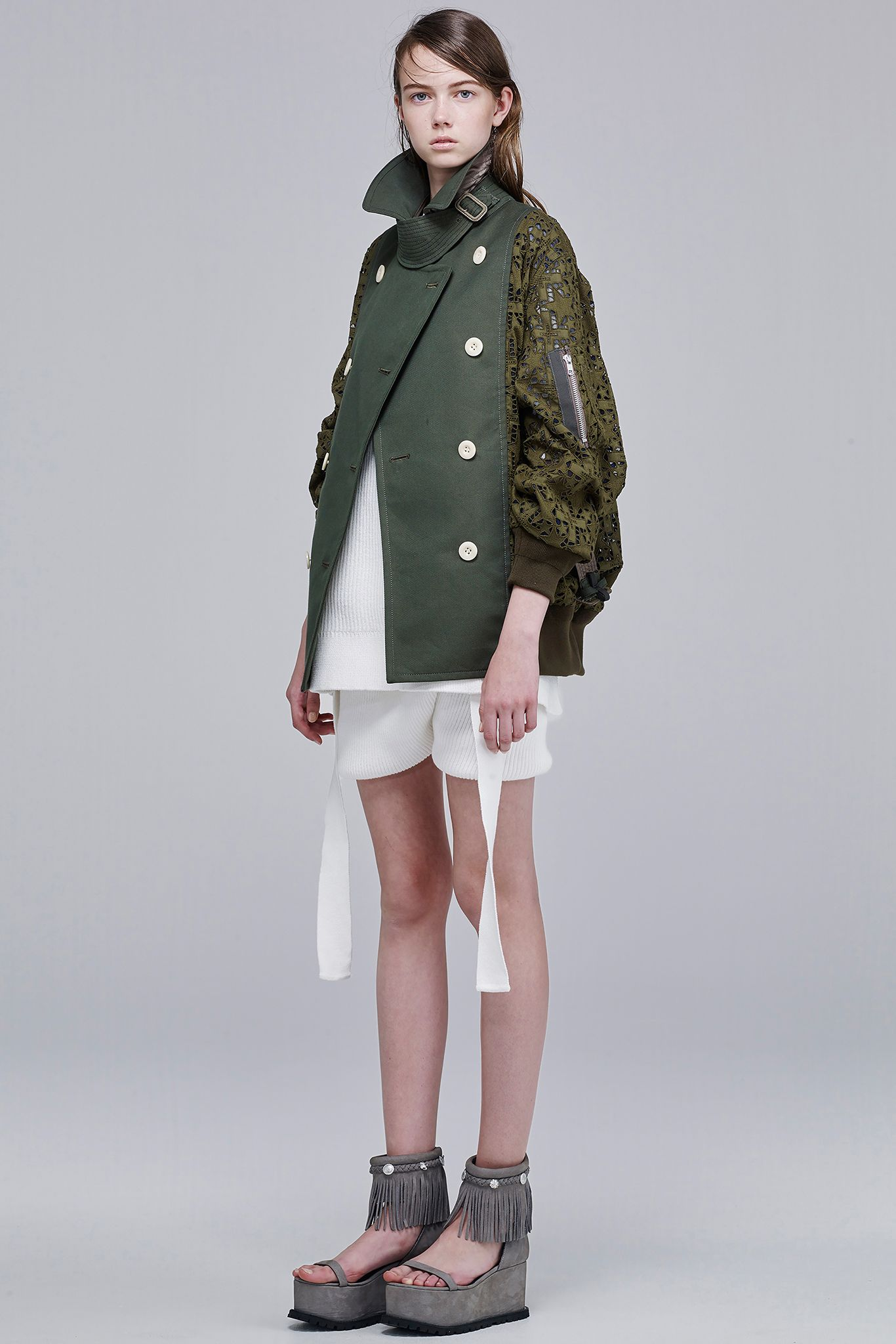 Sacai Resort 2016 - Collection - Gallery - Style.com  Sacai definitely has the coolest outerware we've seen for resort 2016  http://www.style.com/slideshows/fashion-shows/resort-2016/sacai/collection/22