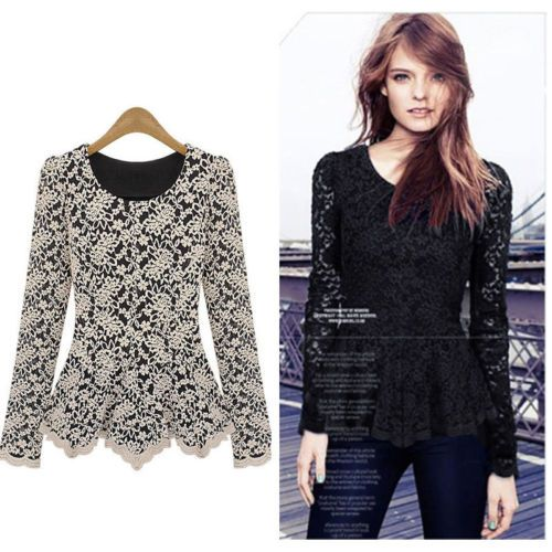 Women-Ladies-Long-Sleeve-Sheer-Crochet-Lace-Peplum-Top-Blouses-Slim-Tunic-Shirt