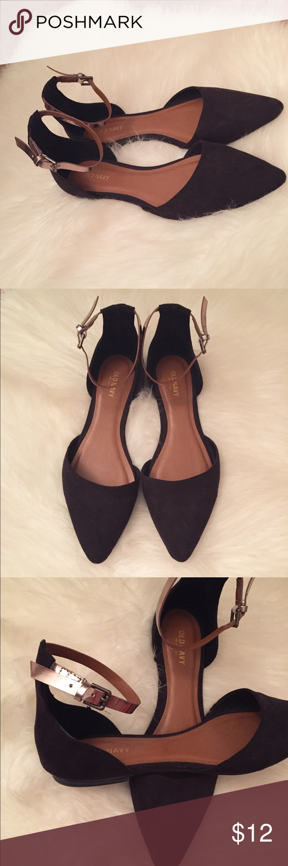 Ankle Strapped Flats These ankle strapped suede flats will add some pop to your outfit. They feature a silver ankle strap to add some glamour. They are perfect with jeans or a beautiful dress. They have only been worn once. In great condition Old Navy Shoes Flats & Loafers