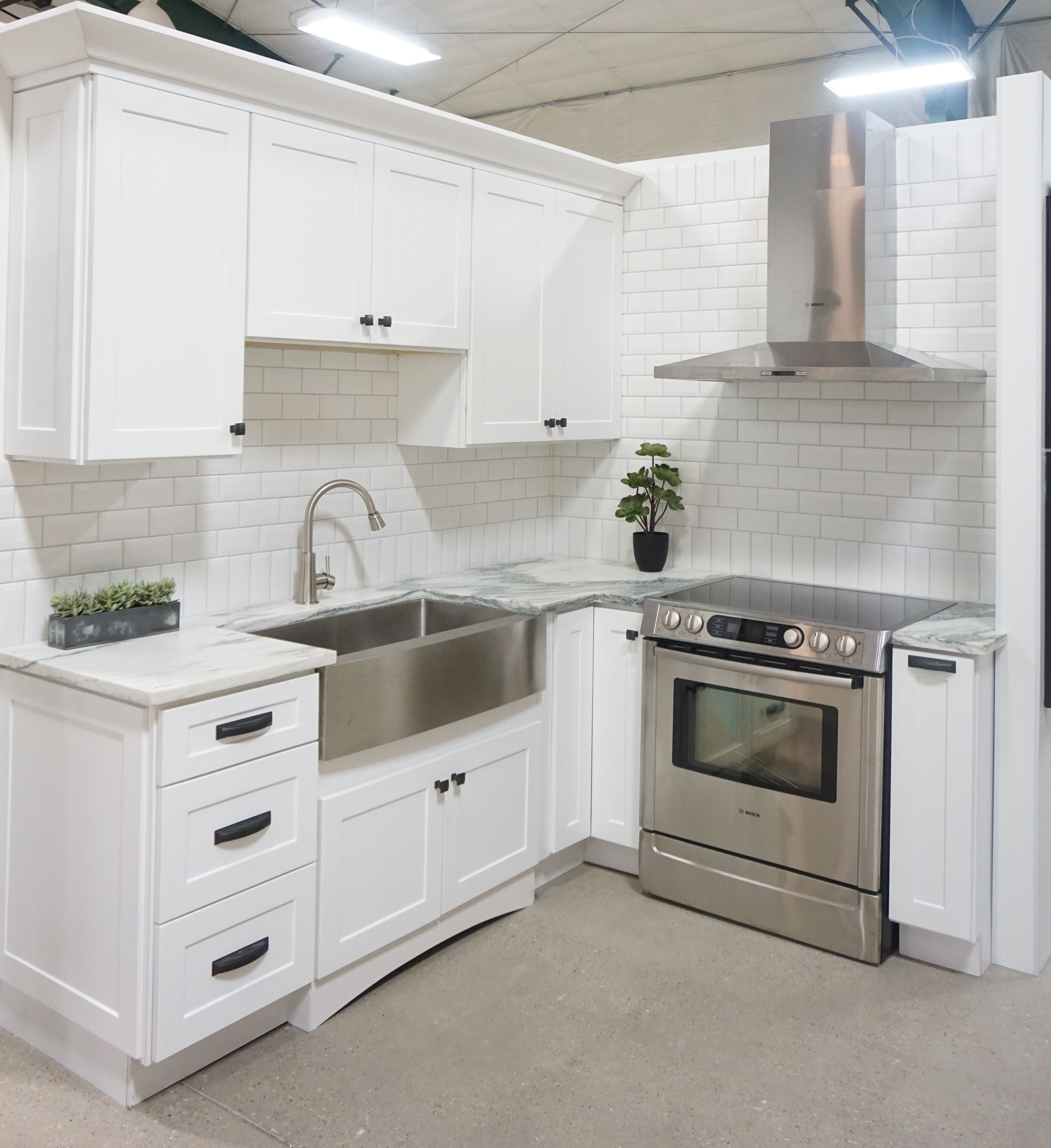 White Cabinets Shaker Door Style White Marble