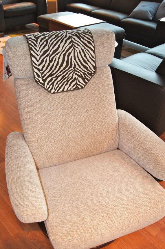 Recliner Chair Headrest Cover Brown White Zebra By Chairflair Armchair Headrest Thrown Chair Zebra Chair