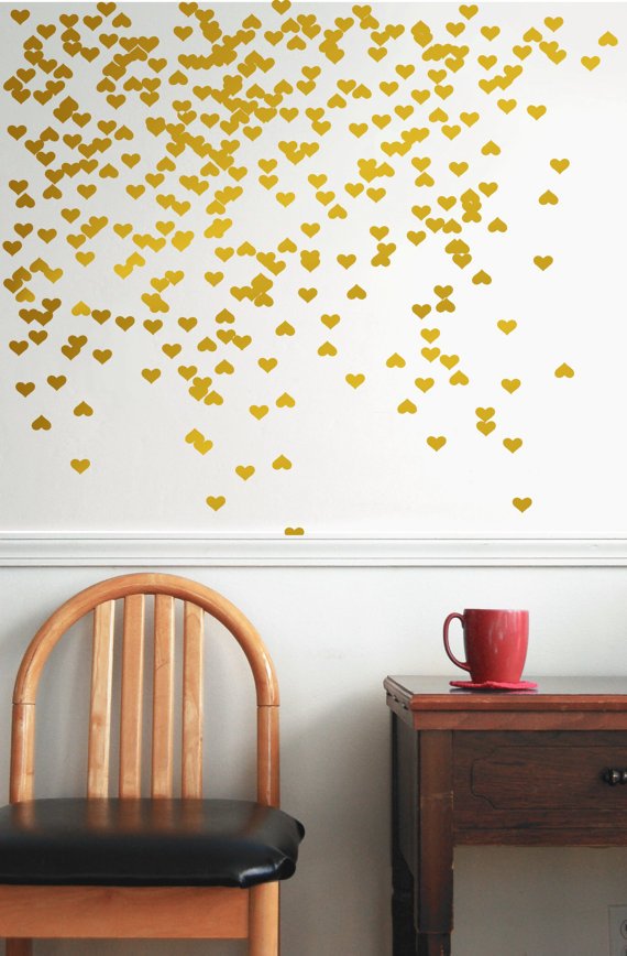 Gold Vinyl Heart Wall Decal Wall Decal Pattern Gold By Jesabi