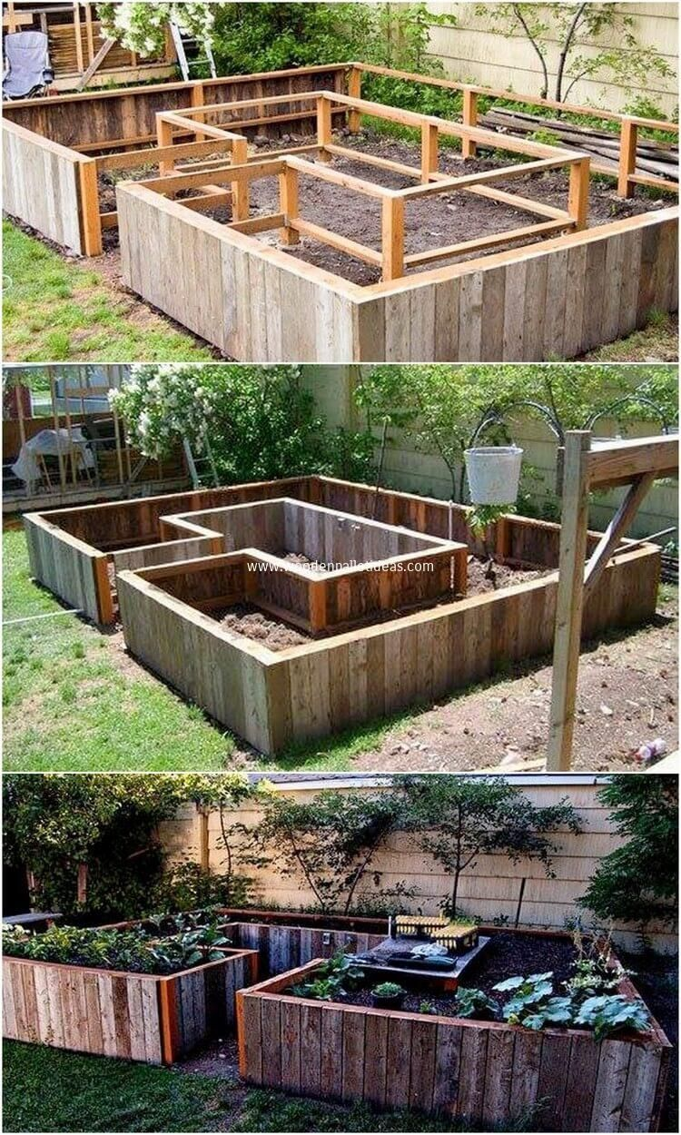 Rustic And Textured Effect Has Been All Conceptually Used Out In This Pallet Raised Garden Design Thu Raised Garden Designs Backyard Landscaping Garden Design Backyard garden ideas with pallets
