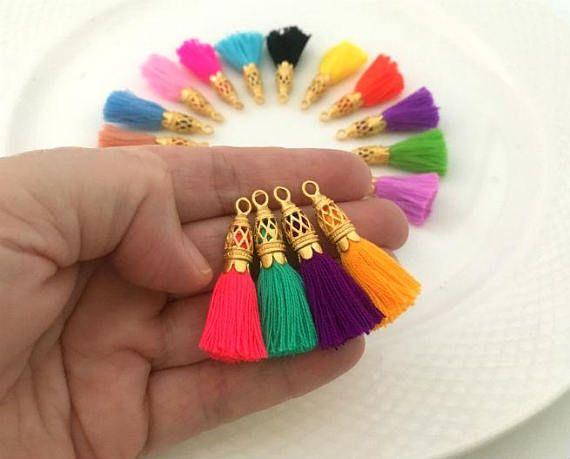 Gold Filigree Small Tassels Handmade Jewelry Tassels Unique