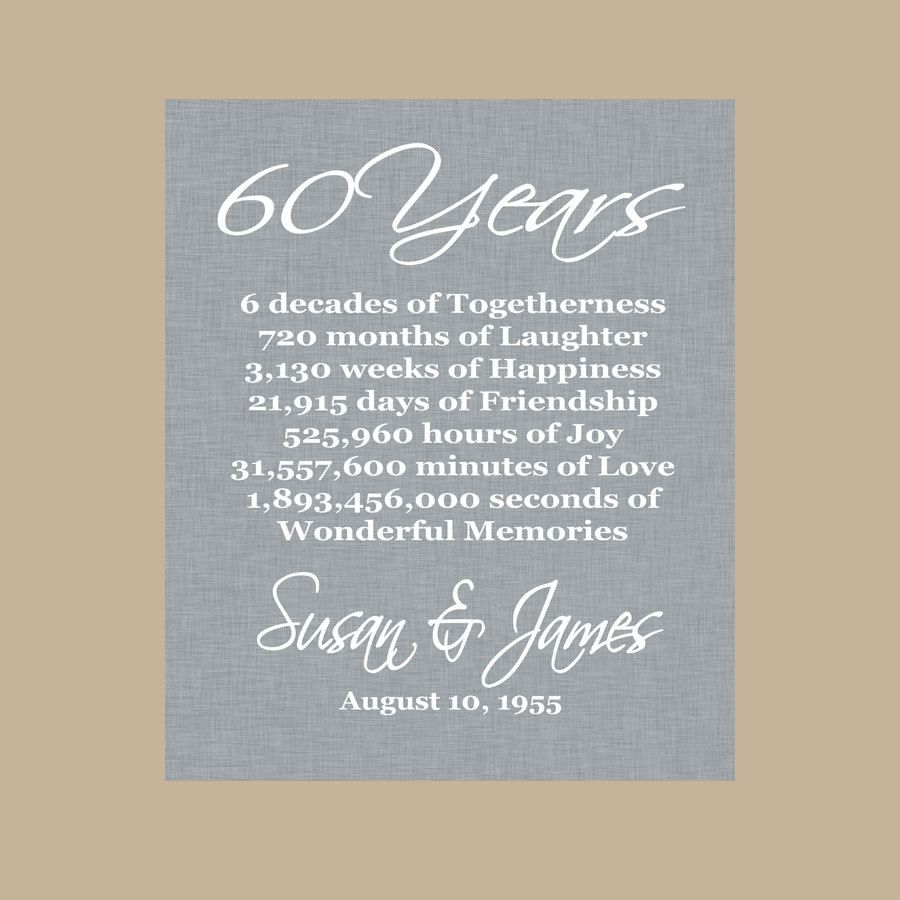60th Anniversary Gift Diamond Anniversary By