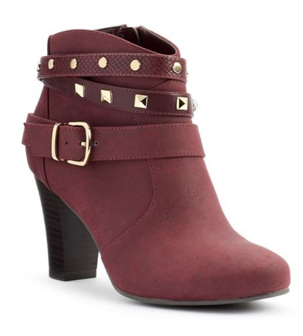 Jennifer Lopez Women's Studded Ankle Booties in Marsala
