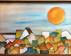 Pintura em tela - Sol sobre casas III