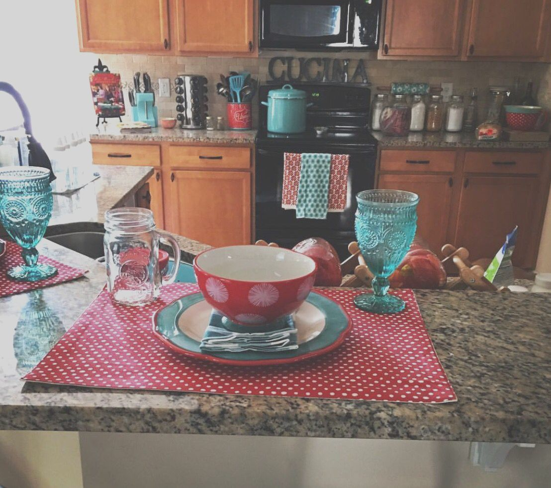 Pioneer Woman Inspired Kitchen Turquoise And Red Polka In 2020 Pioneer Woman Kitchen Decor Pioneer Woman Kitchen Farmhouse Kitchen Decor