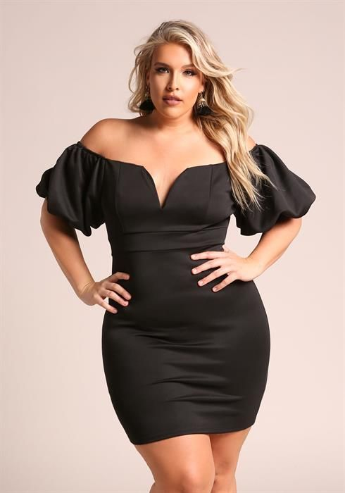 Plus Size Off Shoulder Puff Sleeve Bodycon Dress Debshops Date
