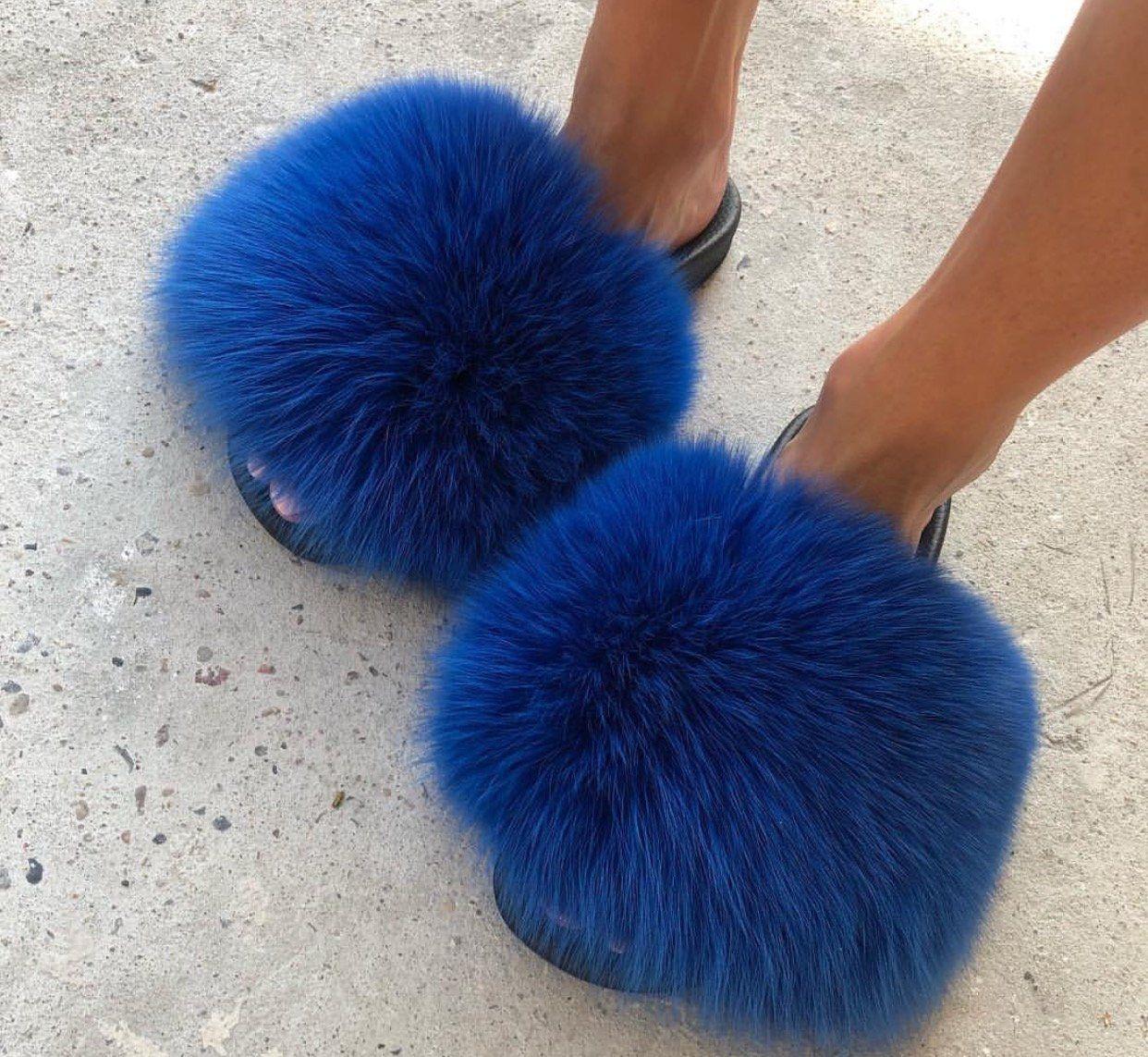 Royal blue fox fur slides genuine real