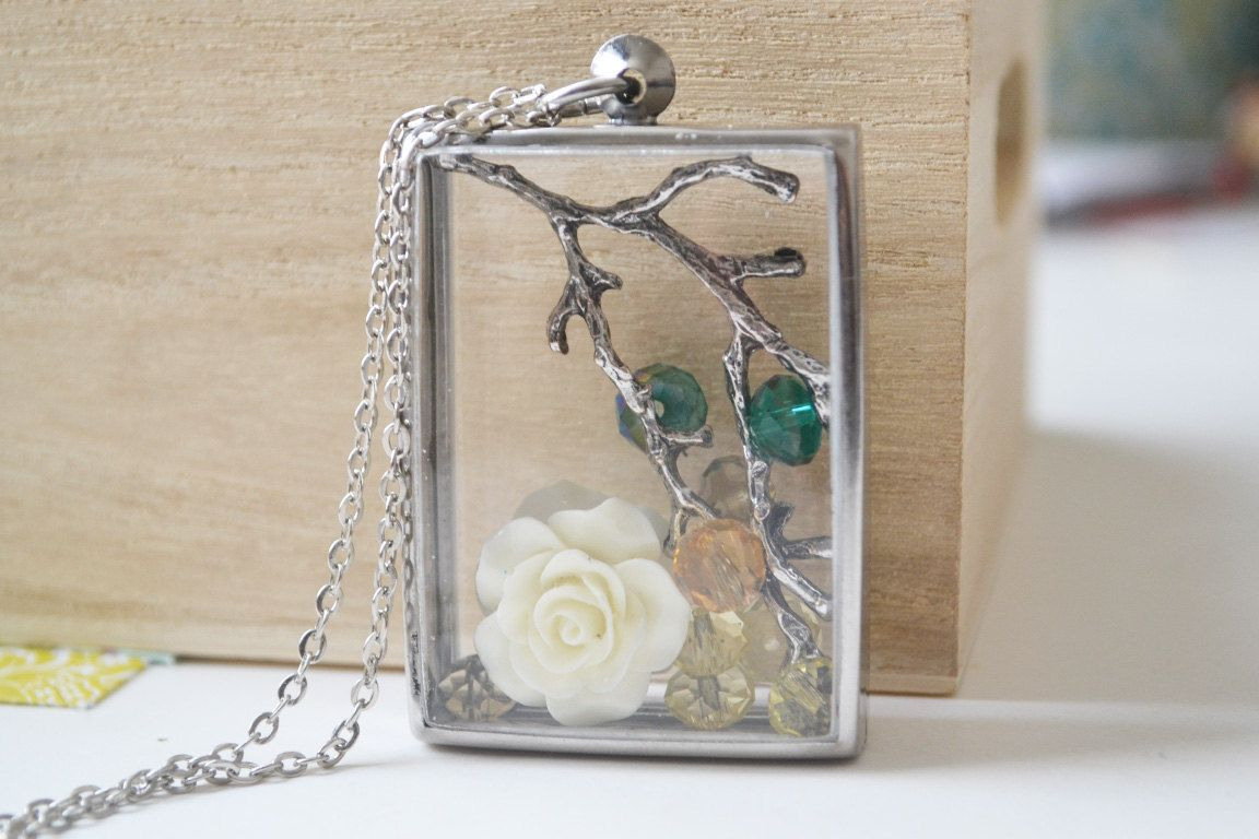 Pewter Branch Terrarium Necklace by oflovelythings on Etsy