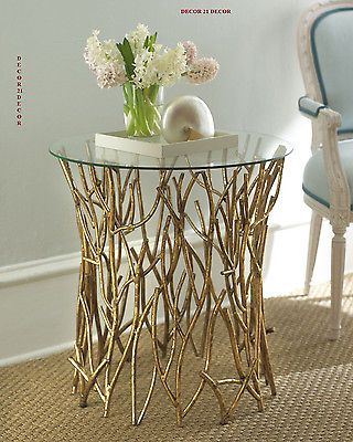 Twig down mirror top italian gold side table horchow/neiman marcus ...