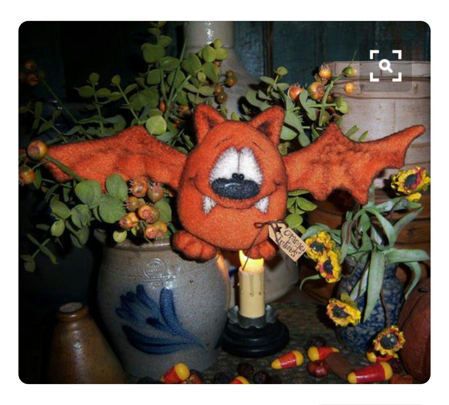 Primitive Patti/'s Ratties Fall Halloween Bat Ornie Doll Paper Pattern #609