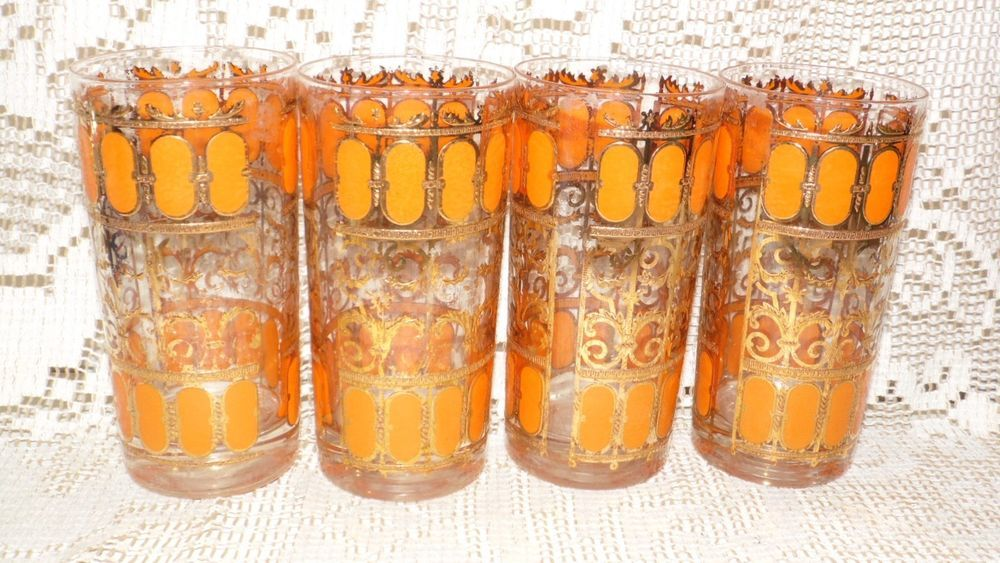 VINTAGE GEORGES BRIARD ORANGE/FANCY GOLD TEXTURED DRINKING GLASSES SET OF 4