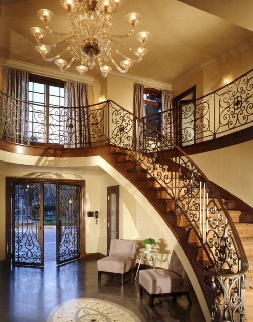Beautiful chandelier and staircase