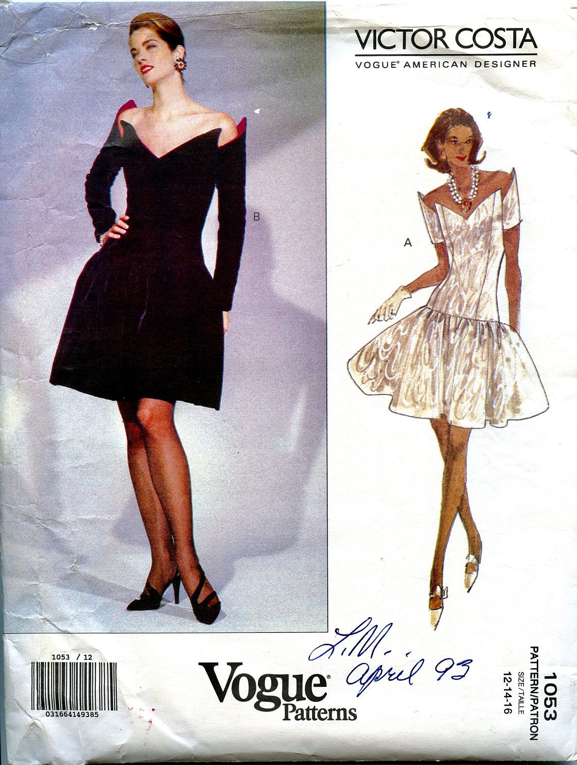 VOGUE 1053 COCKTAIL DRESS Pattern Dropped Waist American Designer ...