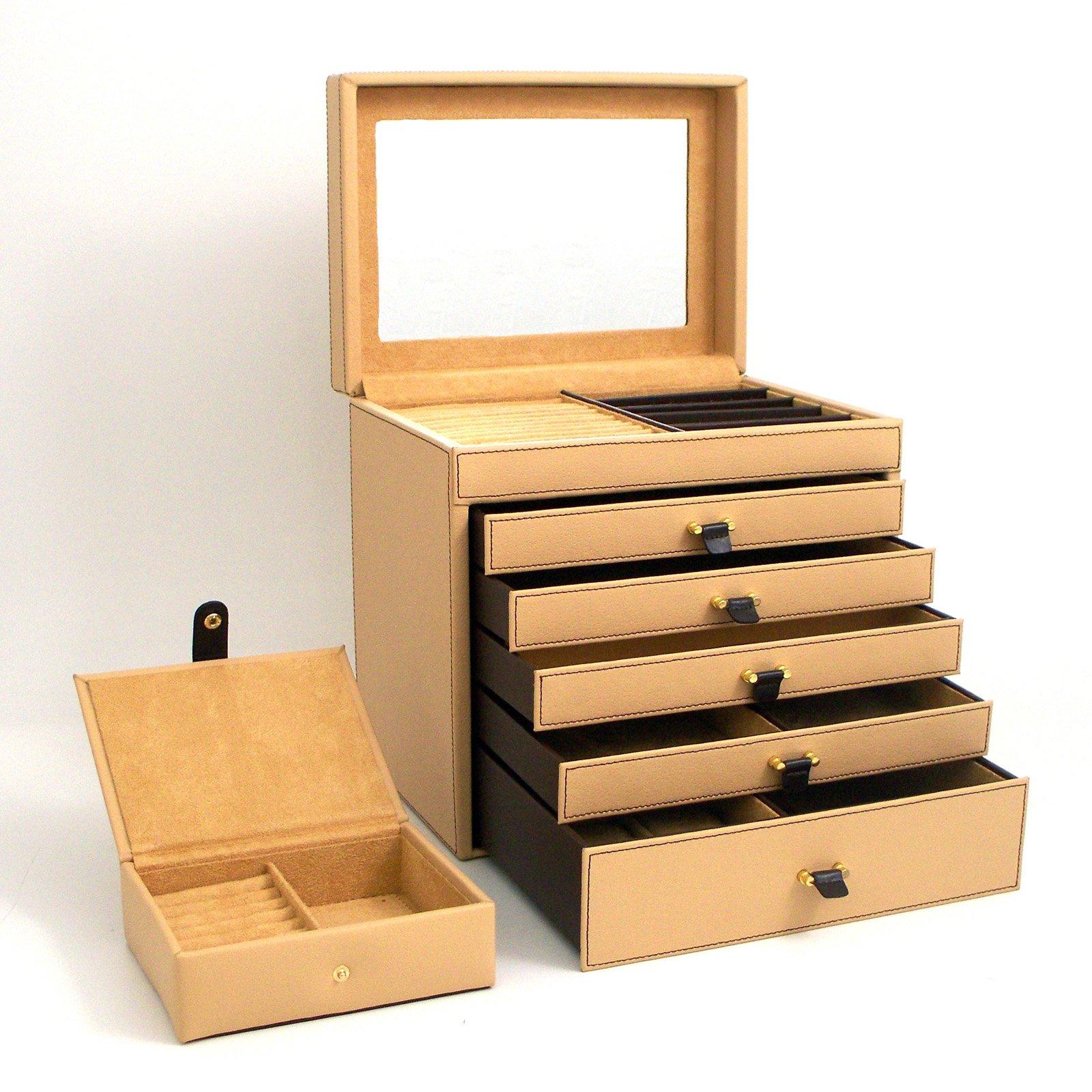 Tan Leather Jewelry Box 11w X 11h In Leather Jewelry Box
