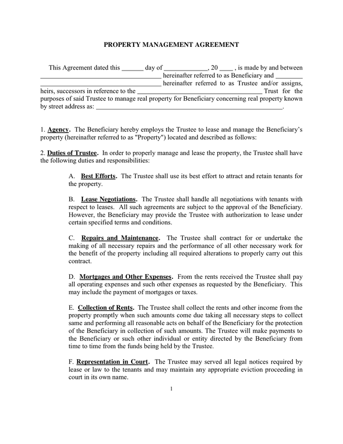 Property Management Agreement This Dated Sample Documents Pdf Word