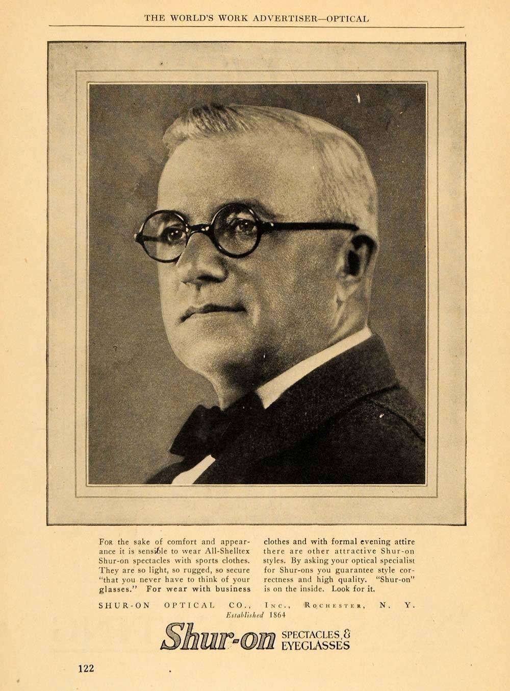 ad shuron spectacles round rim eye glasses ny vintage