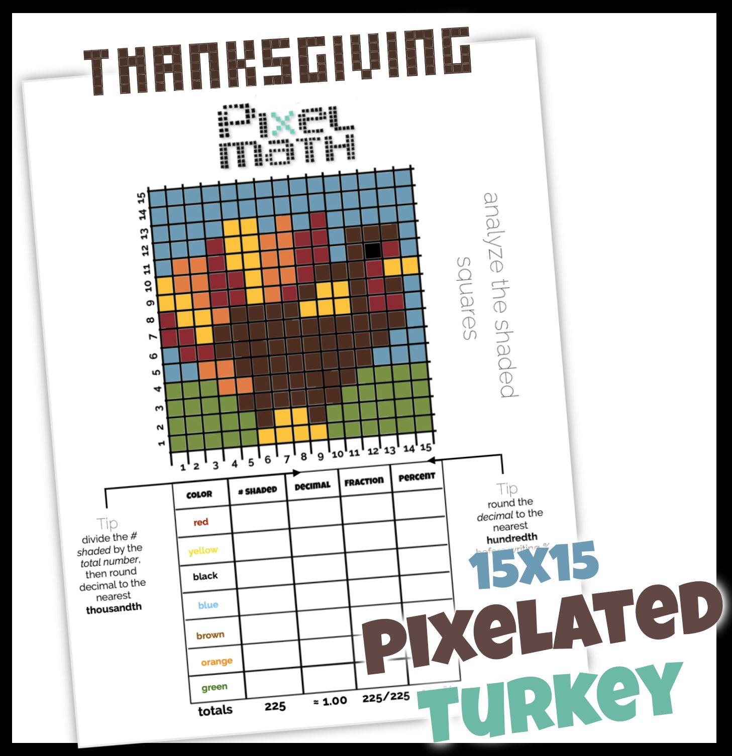 Thanksgiving Turkey Pixel Art 15x15 Challenging Practice With Fractions Decimal Percent Pixel Turkey Math Fractions [ 1506 x 1457 Pixel ]