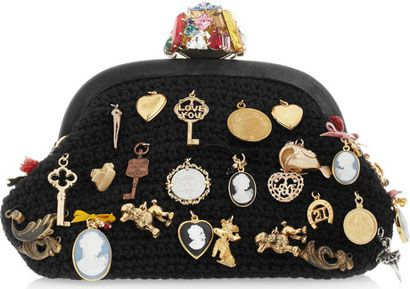 Dolce and Gabbana Charm-Embellished Woven Wool Clutch