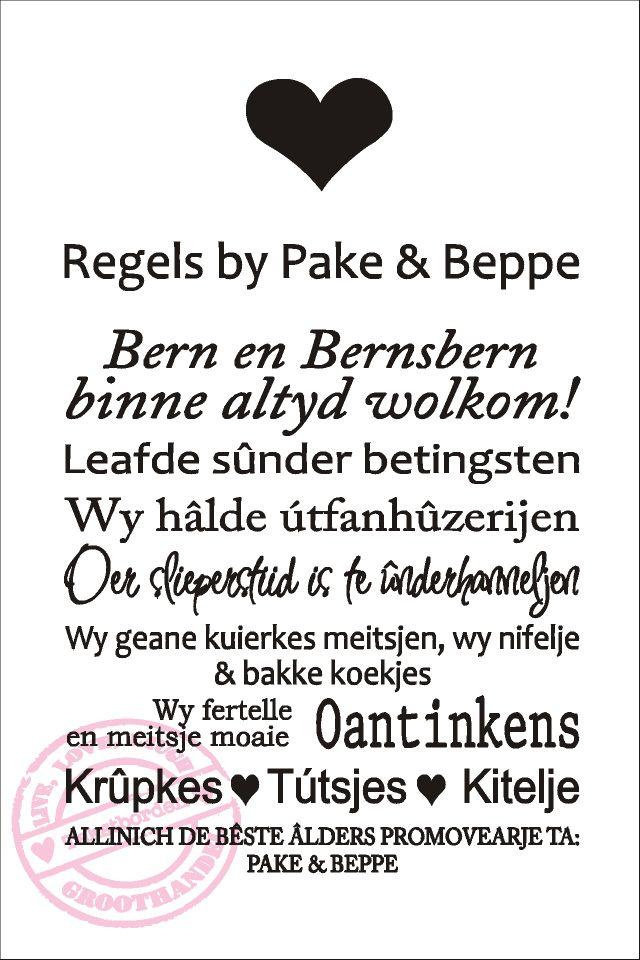 Ongekend Regels bij opa en oma in het Fries (met afbeeldingen) | Teksten KQ-07