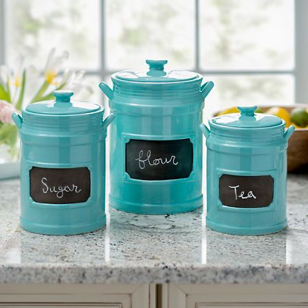 Turquoise Chalkboard Kitchen Canisters, Set of 3 in 2019 ...