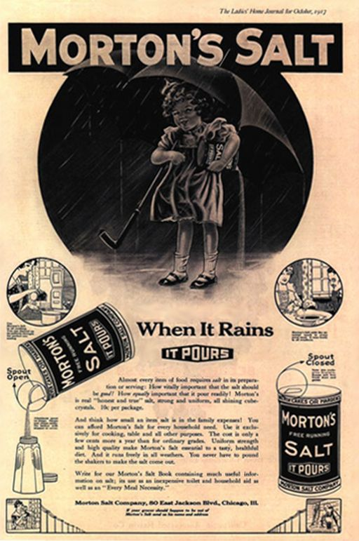 morton salt introduced its famous slogan in 1914 this ad is from 1917 print advertising. Black Bedroom Furniture Sets. Home Design Ideas