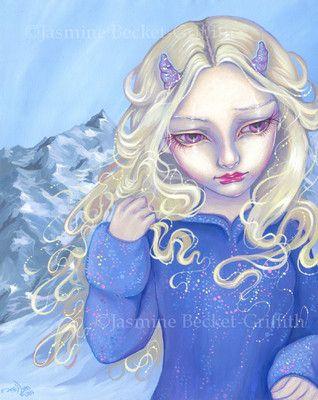 Fiona horned fairy gothic winter snow art CANVAS PRINT Jasmine Becket-Griffith