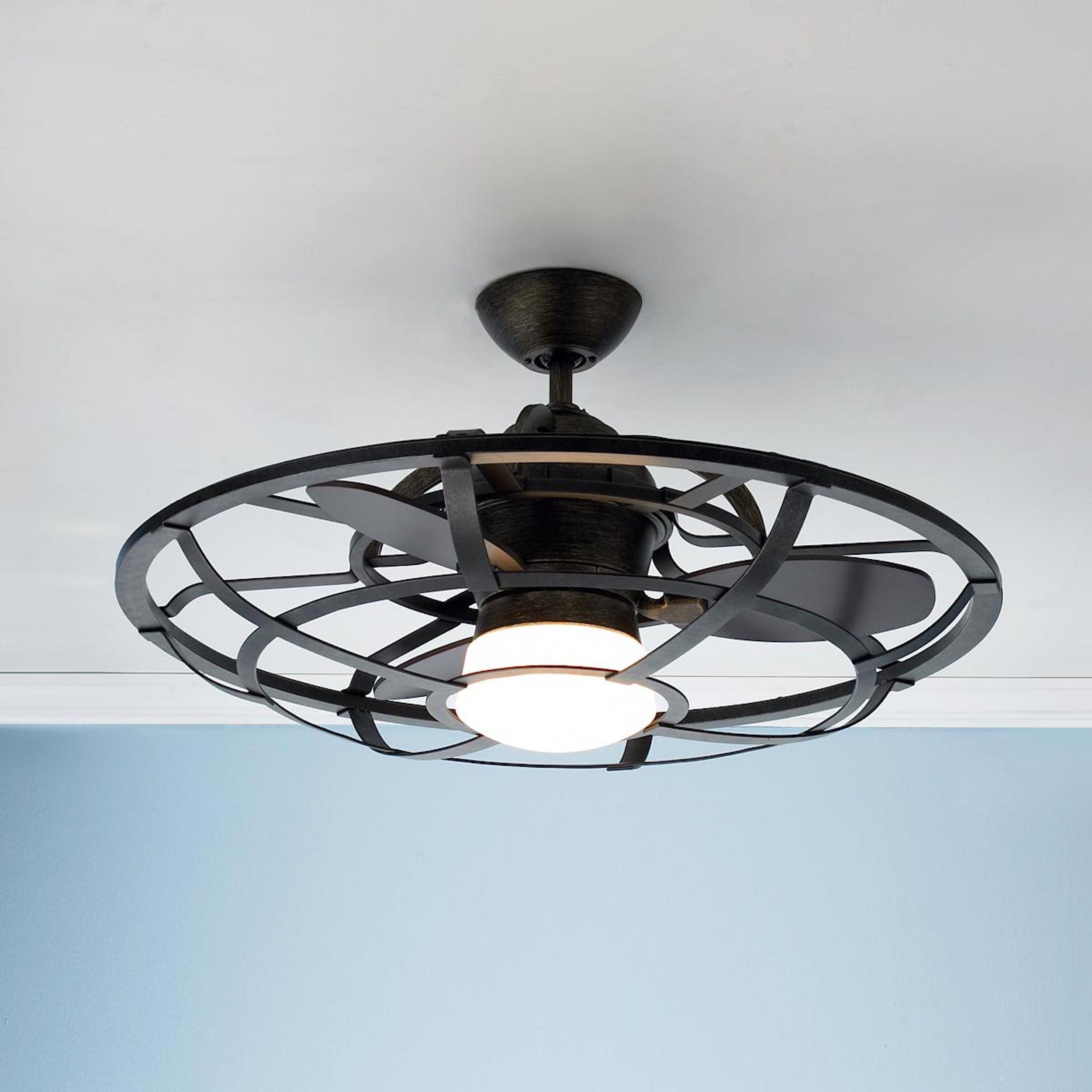 Semi Flush Mini Fan Light Adjust Stem Length Customize Finish