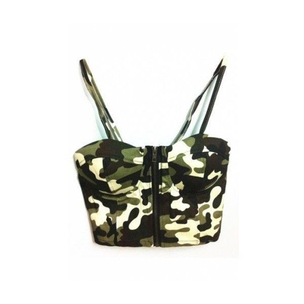 7b9589227ccee Hunter Green Camouflage Print Zipper Front Crop Bralets ( 22) ❤ liked on  Polyvore featuring tops