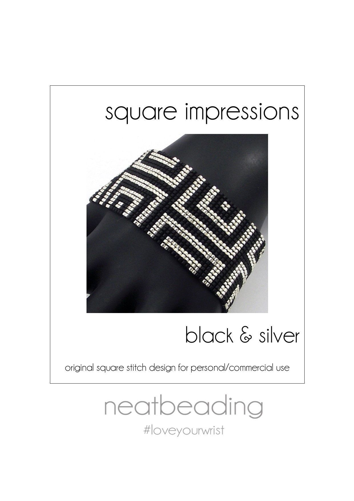 Pattern, Square Impressions Black & Silver, Beaded