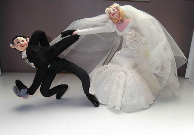 Vintage Klumpe Roldan Bride & Groom Dolls